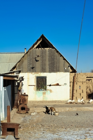 Old country house on a farm in Kazakhstan photo