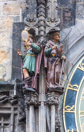 miser: Vanity and Miser figures on Prague Astronomical Clock Stock Photo