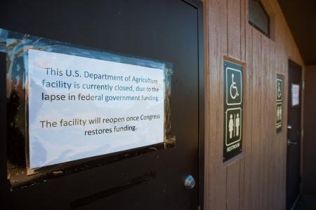 shutdown: SEDONA, USA - 5 OCTOBER 2013  Public restrooms are closed due to the U S  government shutdown in Sedona Red Rock Park  Sedona, 5 October 2013