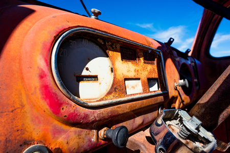 abandoned car: Vintage rusty abandoned car
