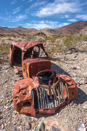 abandoned car: Abandoned vintage rusty car in Death Valley