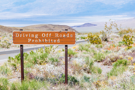 death valley: Driving Off Roads Prohibited sign in Death Valley, USA Stock Photo