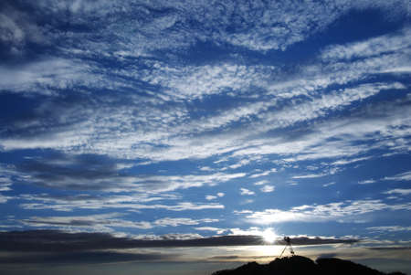 untitled key: Beautiful clouds filled blue sky.Take this picture in Taiwan Nationa Park. Stock Photo