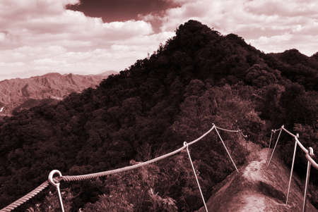untitled key: Its a hard and dangerous mountain, so the step were stand a lot of handrail.