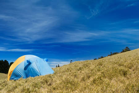 Special tent set on the grassland of high mountain. photo