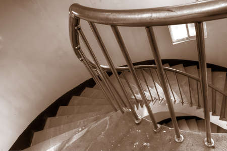It is the beautiful spiraling stairs with colors. photo