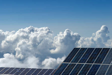 photocell: It is nature power that used solar board. Stock Photo