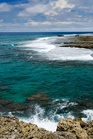 kenting: It is a beautiful coral reef rock cape with blue sky in kenting of Taiwan.