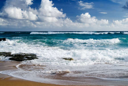 It is a beautiful beach with big waves in kenting of Taiwan. photo