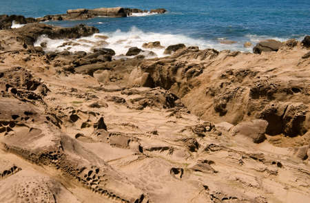 kenting: It is beautiful sandstone erosion coastline in Kenting of Taiwan. Stock Photo