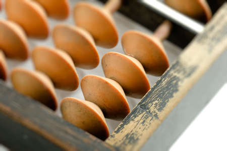 It is an old chinese tool called abacus. photo