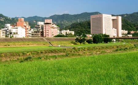 It is beautiful cityscape of apartments with grassland. photo