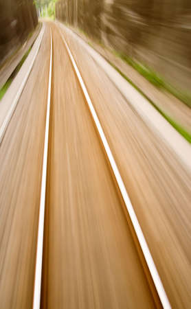 rapid steel: It is railway track with high speed motion blur.