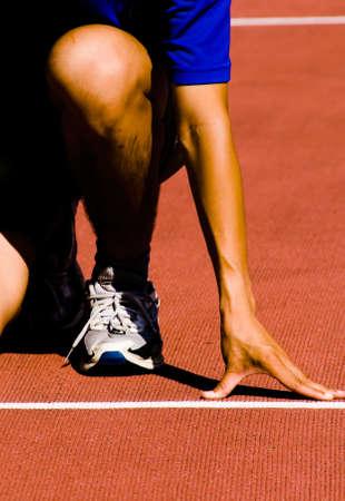 start of race: Era un deportista alineados prepara para la carrera. Foto de archivo