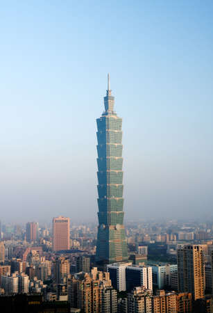 It is a beautiful morning cityscape of Taipei.