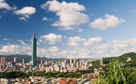 It is a beautiful cityscape of Taipei with white clouds.