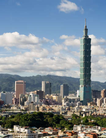 It is a beautiful cityscape of Taipei with white clouds. Editorial