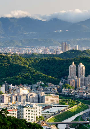 It is a beautiful city landscape in Asian city of Taiwan. photo