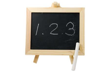 It is a blackboard written with 1,2,3. photo