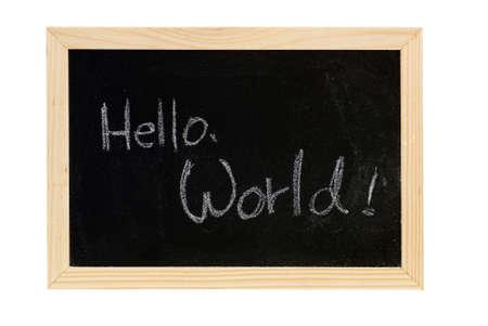Blackboard writing  white words of Hello World. photo
