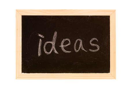 Blackboard was writing white a word of ideas. photo