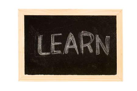 Blackboard was writing white a word of Learn. photo