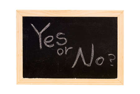 Blackboard was writing white words of Yes or No. photo
