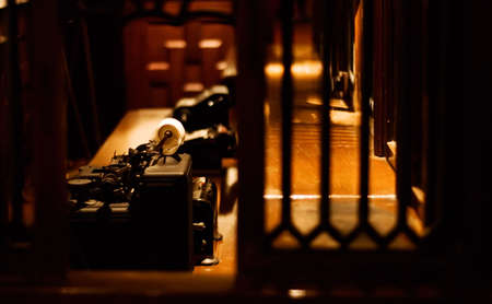 It is an old typewriter for bank on the desk. Stock Photo - 5752392