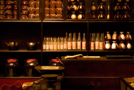 It is a Chinese old style cupboard full of stocks. photo