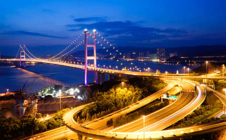 It is beautiful night scenes of Tsing Ma Bridge in Hong Kong. photo