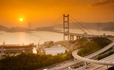It is beautiful sunset of Tsing Ma Bridge in Hong Kong. Stock Photo - 5767114