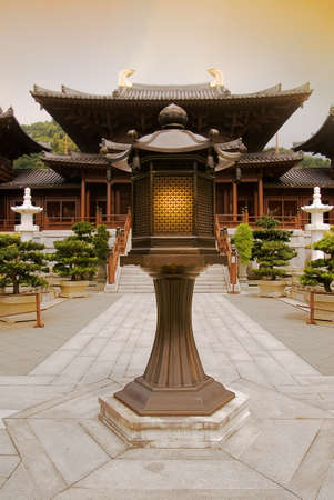 Chinese traditional ancient temple and lamp in front of. photo