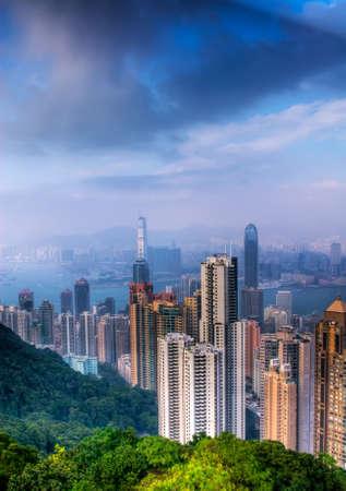 residency: Cityscape of modern skyscraper in Hong Kong.