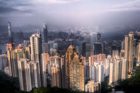 Dramatic cityscape with skyscraper and blue sky in Hong Kong. Stock Photo - 5845108