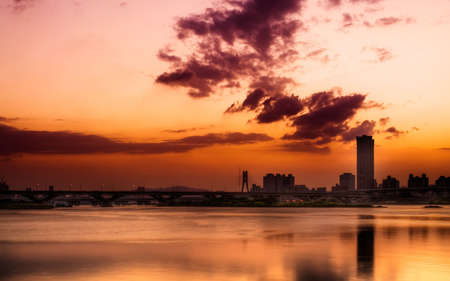 Cityscape of sunset with river and clouds in  Taipei. Stock Photo - 5845104