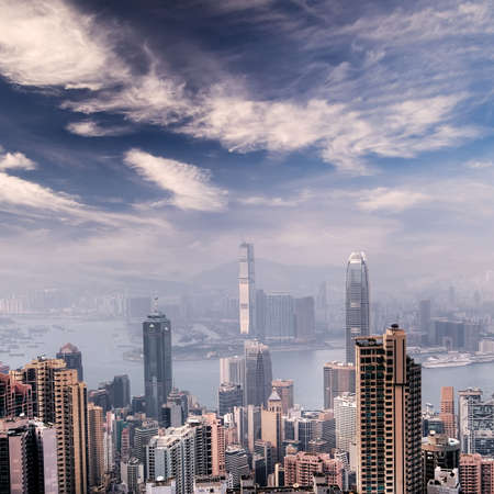 Cityscape of Hong Kong skyscrapers and skyline near the Victoria harbor. Stock Photo - 5950914