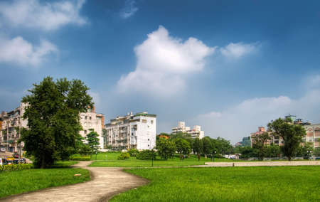 Park and house under the beautiful sky in the outdoor. Stock Photo - 5975932