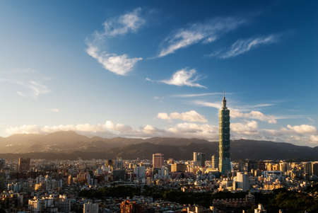 taipei: Cityscape of Taipei skyline with famous skyscraper 101 building in the evening in Taiwan.