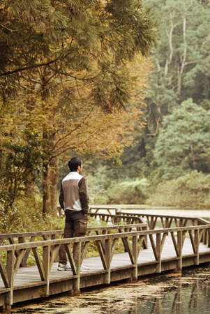 Man stand on bridge near the lake in beautiful forest. photo