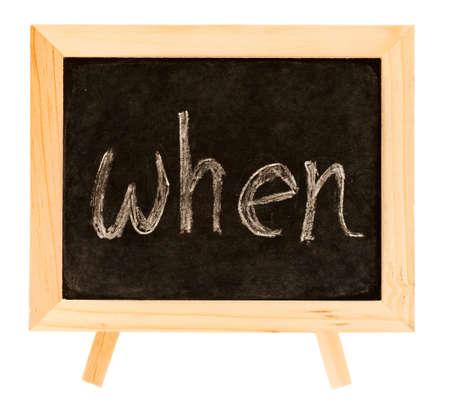 When word in English on the blackboard. photo