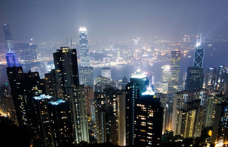 Skyline in City with famous skyscraper scene in night in Hong Kong, Asia. Stock Photo - 6143204
