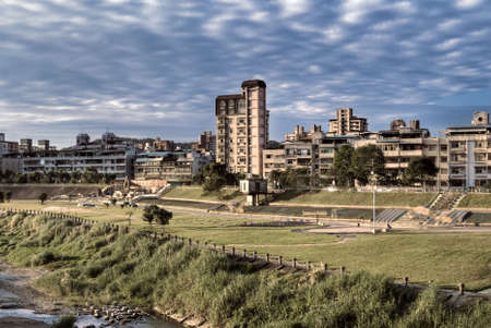 Urban scenic of apartment and park near river in modern city. Stock Photo - 6161990
