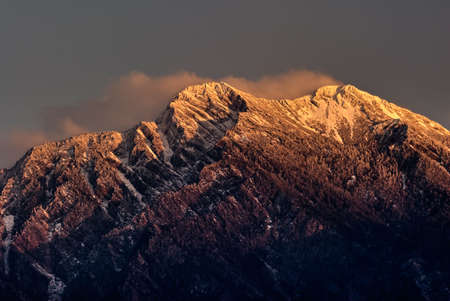 morrison: Mountain Jade north peak in dawn. East Asia highest mountain in Taiwan height is 3,952 m above sea level, Called Mt. Jade, Mt. Morrison, Yu shan or Yushan.