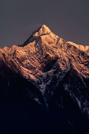 morrison: Mountain peak in dawn. East Asia highest mountain in Taiwan height is 3,952 m above sea level, Called Mt. Jade, Mt. Morrison, Yu shan or Yushan. Stock Photo