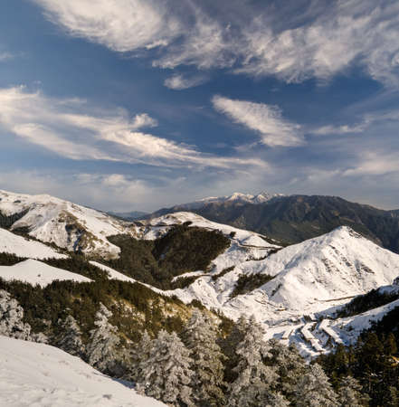 Landscape of mountain with winter snow and dramatic sky in Mt. Hohuan, Taiwan, Asia. Stock Photo - 6282723