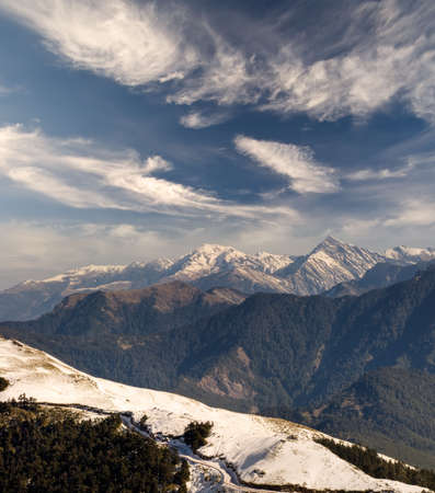 Mountain scenery with snow and road in Mt. Hohuan, Taiwan, Asia. Stock Photo - 6282727