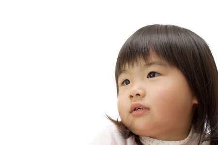 Asian children with hope face portrait in white background. photo