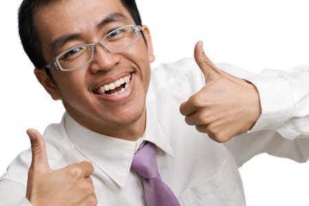 Happy businessman of Asian thumb up on white background. photo