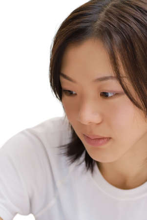 Think of Asian woman portrait with beautiful face in white background. Stock Photo - 6596465