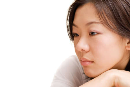 Alone woman of Asian with blue expression face in white background.